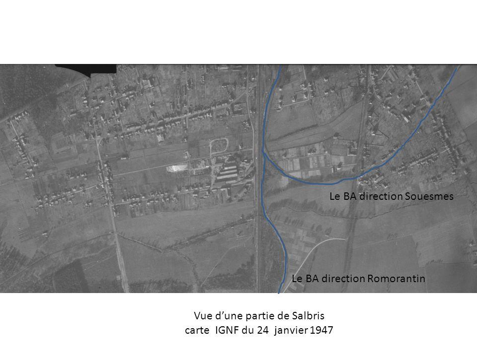 Le BA direction Souesmes Le BA direction Romorantin Vue dune partie de Salbris carte IGNF du 24 janvier 1947