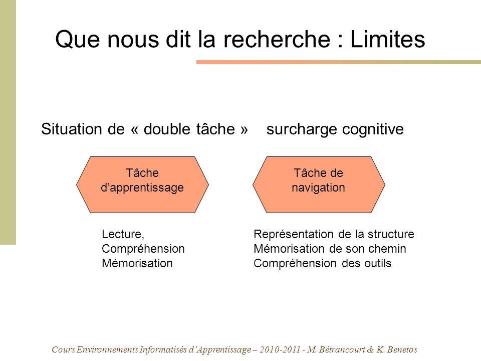Cours Environnements Informatisés dApprentissage – 2010-2011 - M. Bétrancourt & K. Benetos Que nous dit la recherche : Limites Situation de « double t