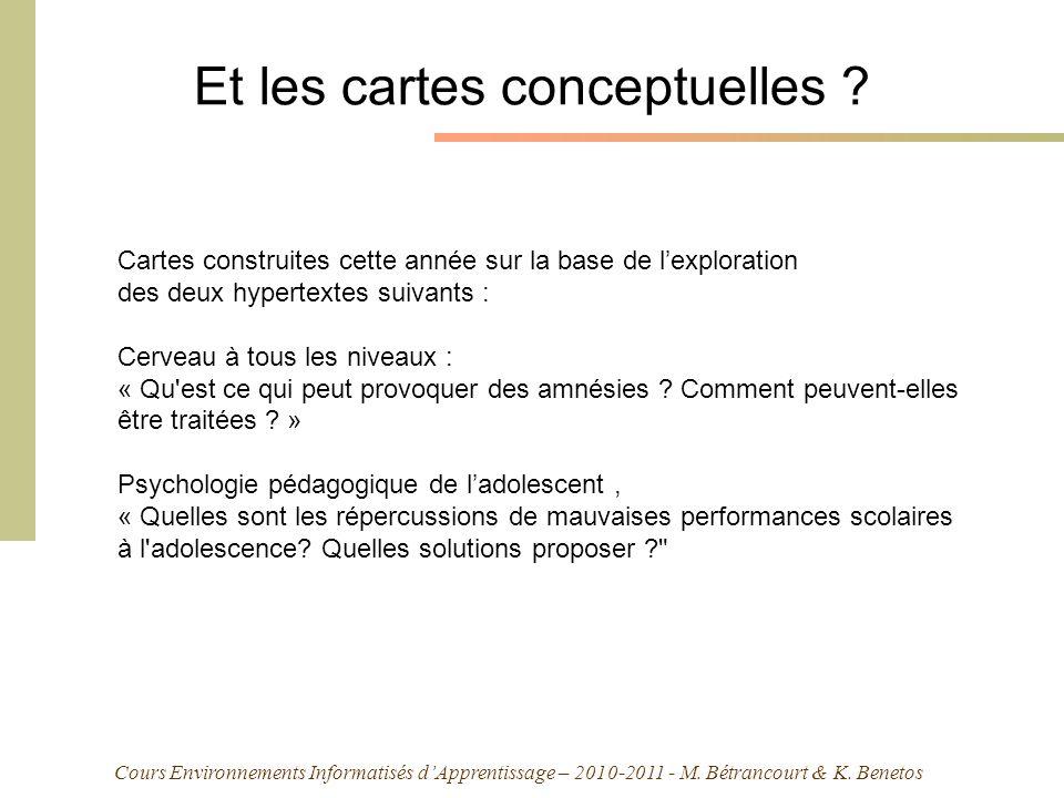 Cours Environnements Informatisés dApprentissage – 2010-2011 - M. Bétrancourt & K. Benetos Et les cartes conceptuelles ? Cartes construites cette anné