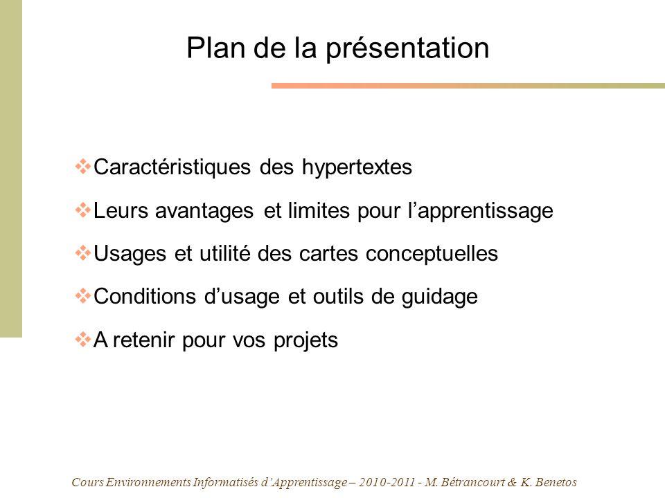 Cours Environnements Informatisés dApprentissage – 2010-2011 - M. Bétrancourt & K. Benetos Plan de la présentation Caractéristiques des hypertextes Le