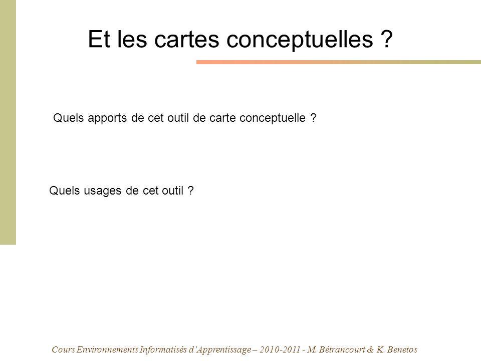 Cours Environnements Informatisés dApprentissage – 2010-2011 - M. Bétrancourt & K. Benetos Et les cartes conceptuelles ? Quels apports de cet outil de