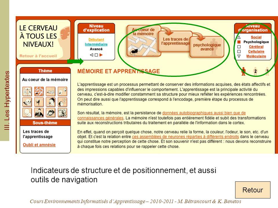Cours Environnements Informatisés dApprentissage – 2010-2011 - M. Bétrancourt & K. Benetos Retour III. Les Hypertextes Indicateurs de structure et de