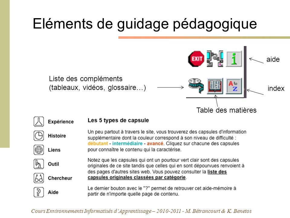 Cours Environnements Informatisés dApprentissage – 2010-2011 - M. Bétrancourt & K. Benetos Eléments de guidage pédagogique aide index Liste des complé