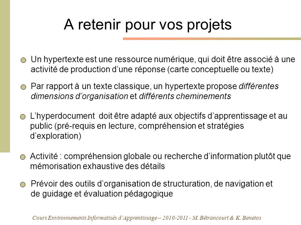 Cours Environnements Informatisés dApprentissage – 2010-2011 - M. Bétrancourt & K. Benetos A retenir pour vos projets Lhyperdocument doit être adapté