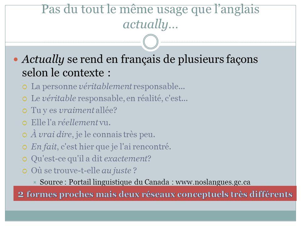 Pas du tout le même usage que langlais actually… Actually se rend en français de plusieurs façons selon le contexte : La personne véritablement responsable...
