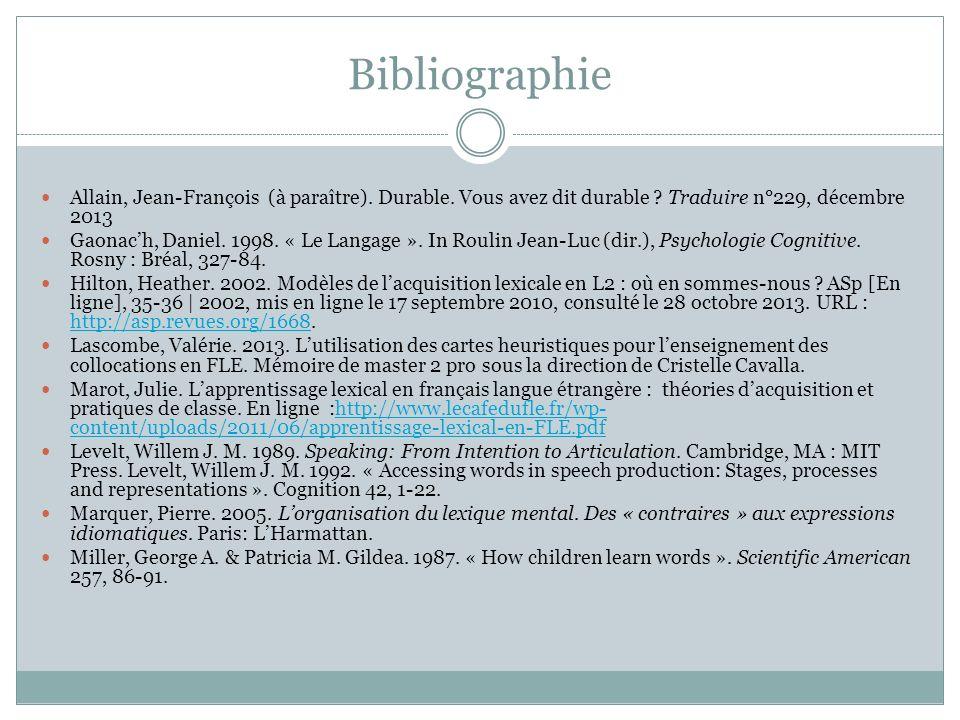 Bibliographie Allain, Jean-François (à paraître).Durable.