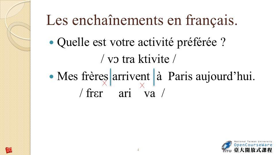 Les enchaînements en français. Quelle est votre activité préférée ? / v ɔ tra ktivite / Mes frères arrivent à Paris aujourdhui. / frεr ari va / 4