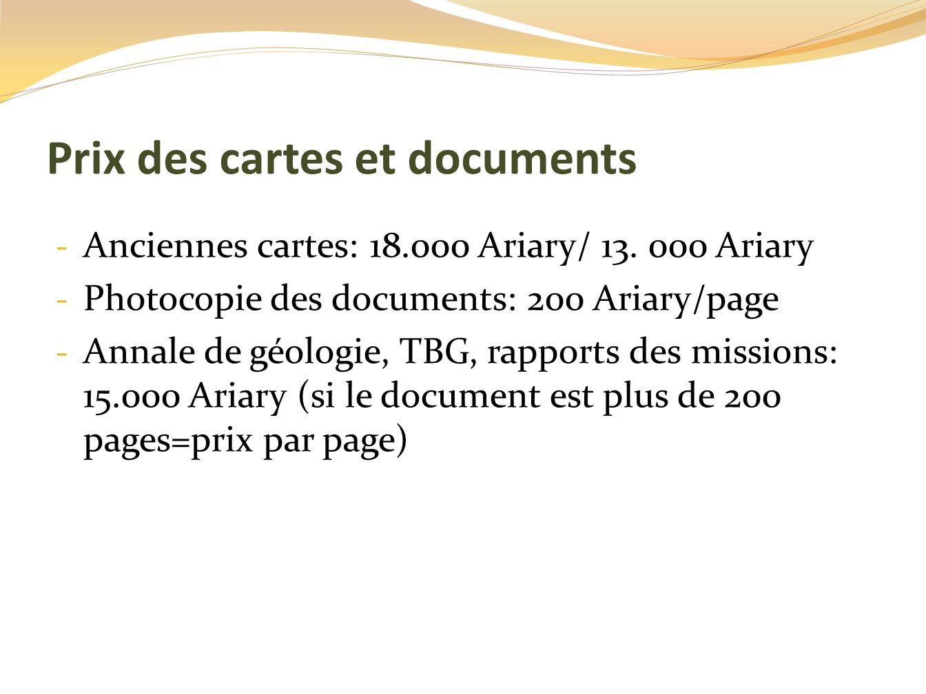 Prix des cartes et documents - Anciennes cartes: 18.000 Ariary/ 13. 000 Ariary - Photocopie des documents: 200 Ariary/page - Annale de géologie, TBG,