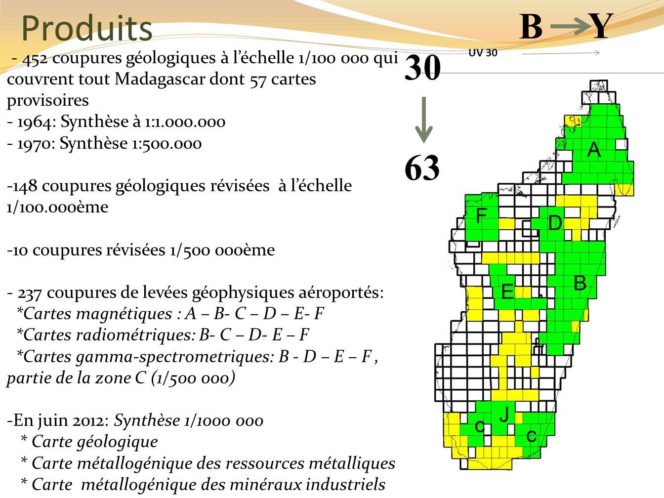 - 452 coupures géologiques à léchelle 1/100 000 qui couvrent tout Madagascar dont 57 cartes provisoires - 1964: Synthèse à 1:1.000.000 - 1970: Synthès