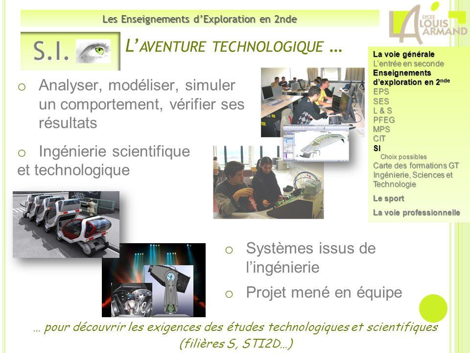 o Analyser, modéliser, simuler un comportement, vérifier ses résultats o Ingénierie scientifique et technologique S.I. S.I. Les Enseignements dExplora