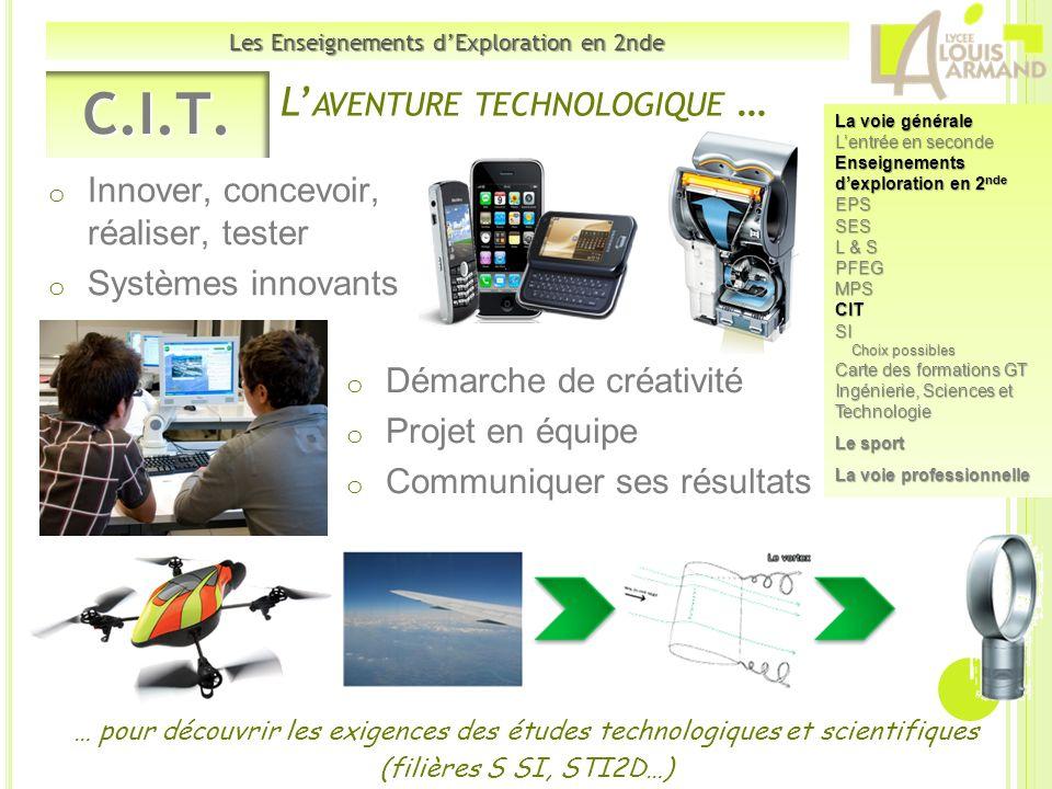 o Innover, concevoir, réaliser, tester o Systèmes innovants C.I.T. Les Enseignements dExploration en 2nde L AVENTURE TECHNOLOGIQUE … … pour découvrir