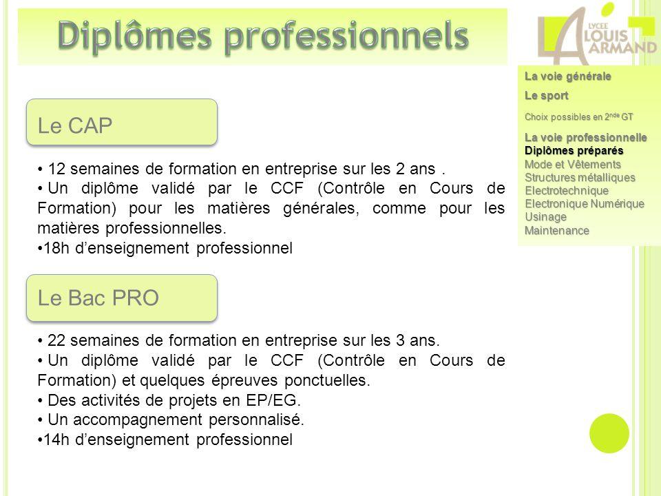Le CAP 12 semaines de formation en entreprise sur les 2 ans. Un diplôme validé par le CCF (Contrôle en Cours de Formation) pour les matières générales