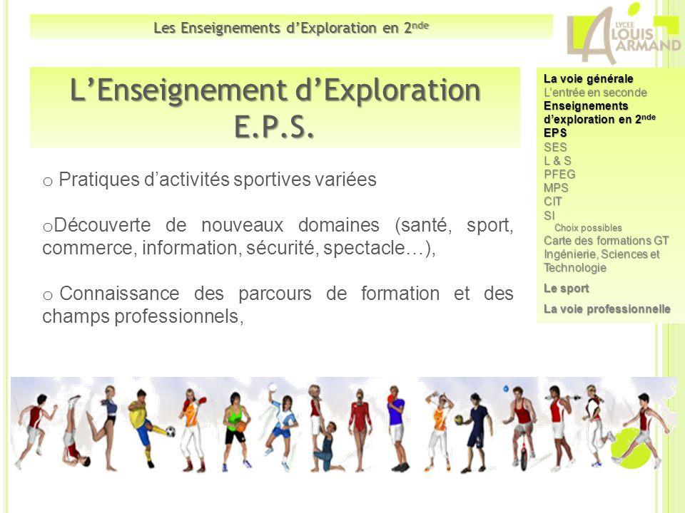 LEnseignement dExploration E.P.S. o Pratiques dactivités sportives variées o Découverte de nouveaux domaines (santé, sport, commerce, information, séc