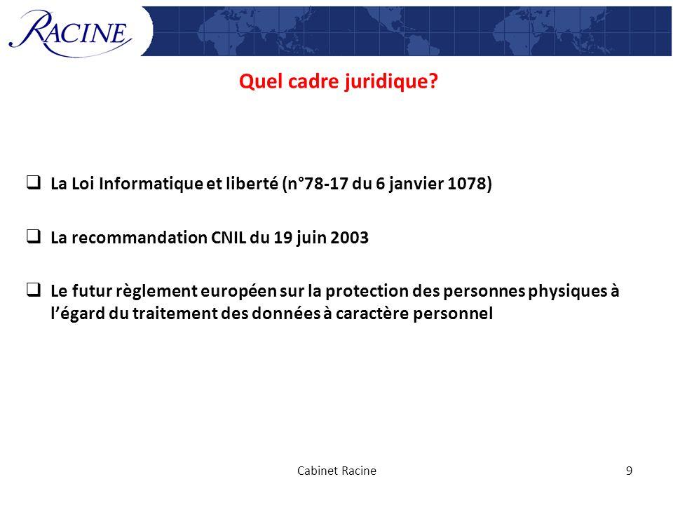 Quel cadre juridique? La Loi Informatique et liberté (n°78-17 du 6 janvier 1078) La recommandation CNIL du 19 juin 2003 Le futur règlement européen su