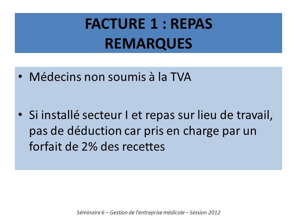 FACTURE 1 : REPAS REMARQUES Médecins non soumis à la TVA Si installé secteur I et repas sur lieu de travail, pas de déduction car pris en charge par u