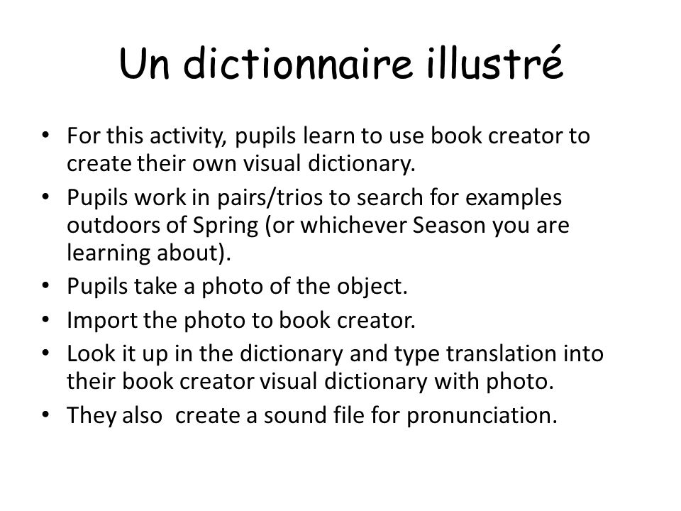 Un dictionnaire illustré For this activity, pupils learn to use book creator to create their own visual dictionary. Pupils work in pairs/trios to sear