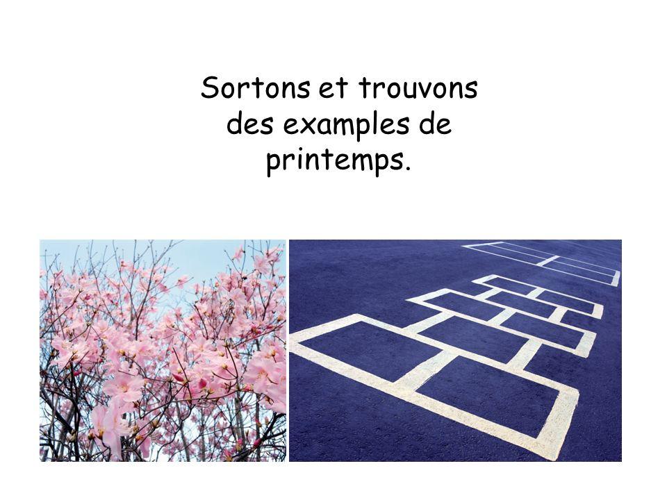 Sortons et trouvons des examples de printemps.
