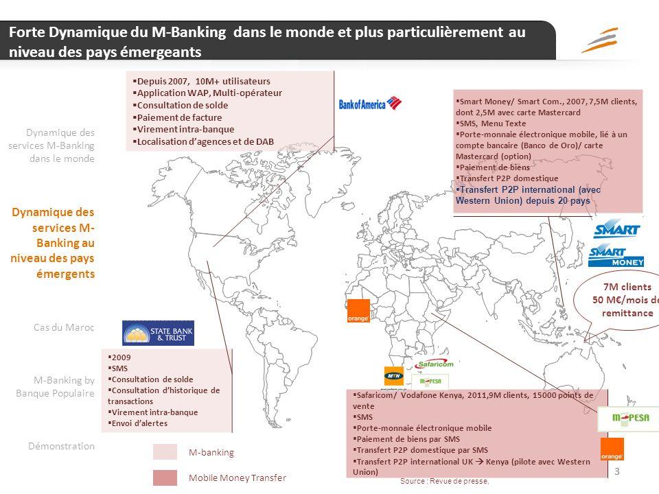 2 Dynamique de développement des services M-Banking & M-Paiement est différente entre pays développés et pays émergeants… 2 NOTA Quest ce que le M-Ban