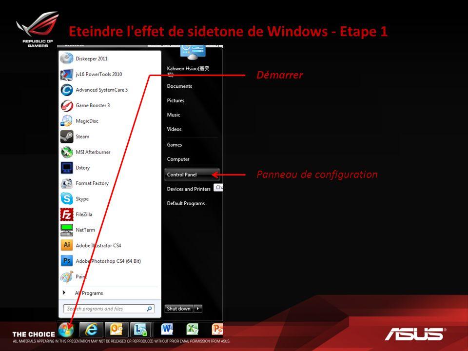 Eteindre l'effet de sidetone de Windows - Etape 1 Démarrer Panneau de configuration