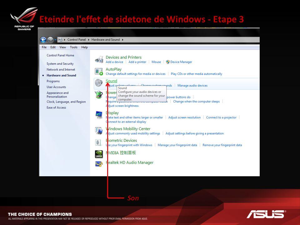 Eteindre l'effet de sidetone de Windows - Etape 3 Son
