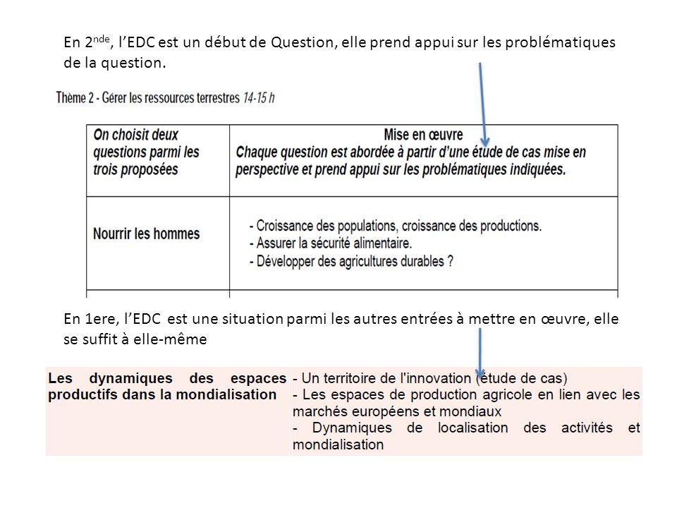 En 2 nde, lEDC est un début de Question, elle prend appui sur les problématiques de la question.