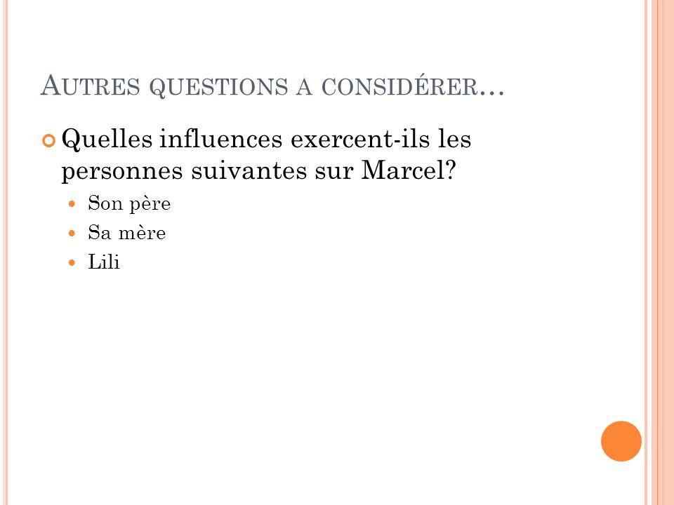 A UTRES QUESTIONS A CONSIDÉRER … Comment est-ce que lattitude de Marcel vers la scène chez le noble sest transformé avec du temps.