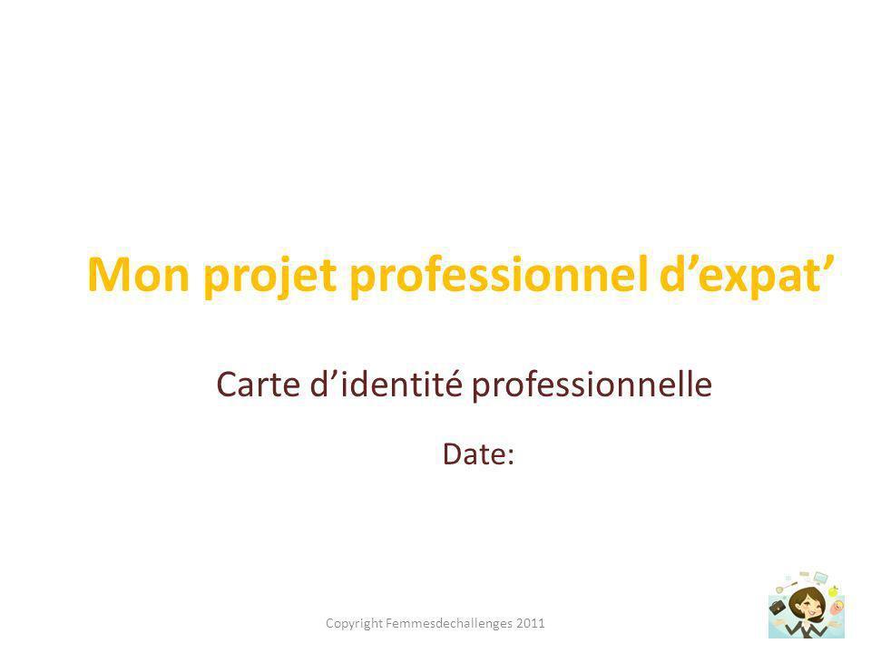 Ma carte didentité professionnelle REALISATIONS QUALITES CONDITIONS DE TRAVAIL COMPETENCES Copyright Femmesdechallenges 2011