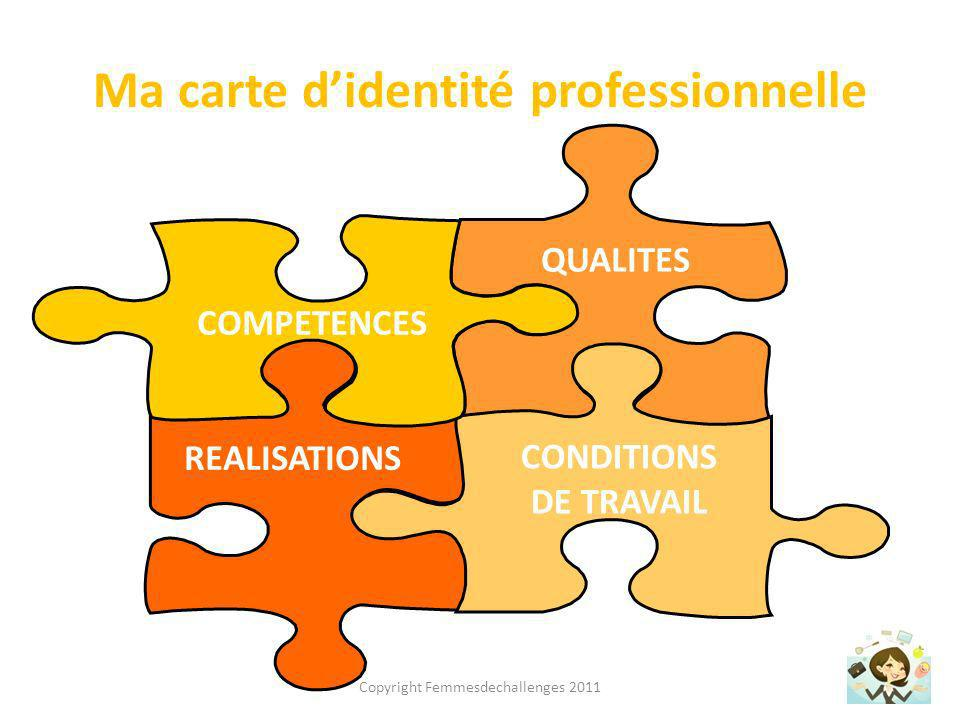 Ma carte didentité professionnelle REALISATIONS QUALITES CONDITIONS DE TRAVAIL COMPETENCES Copyright Femmesdechallenges 2011