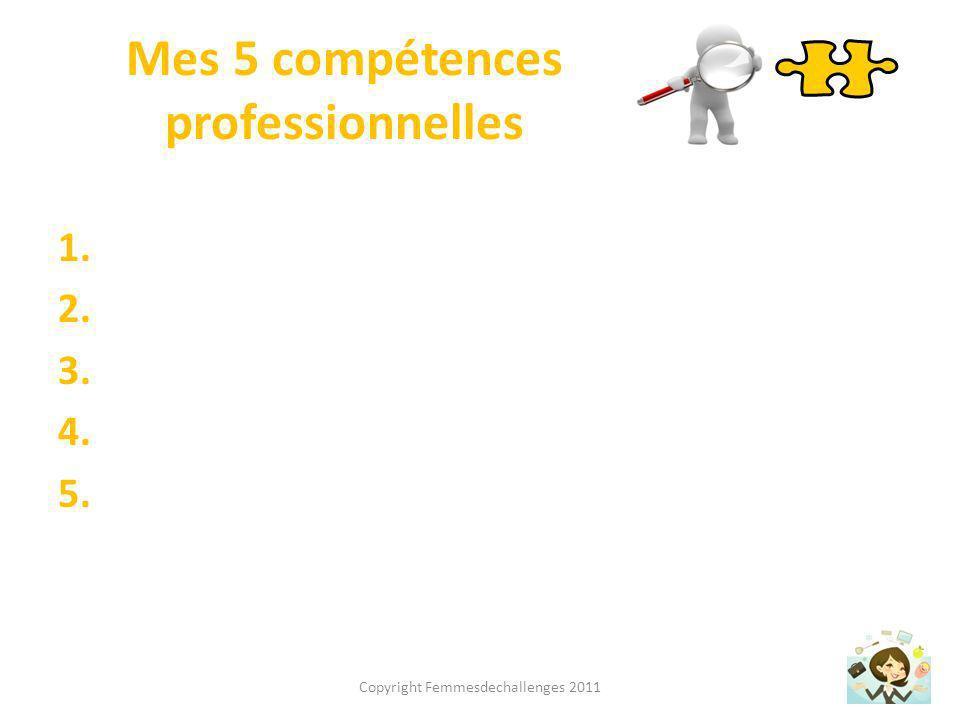 Mes 5 qualités personnelles 1. 2. 3. 4. 5. Copyright Femmesdechallenges 2011