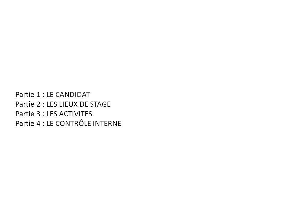 Partie 1 : LE CANDIDAT Partie 2 : LES LIEUX DE STAGE Partie 3 : LES ACTIVITES Partie 4 : LE CONTRÔLE INTERNE