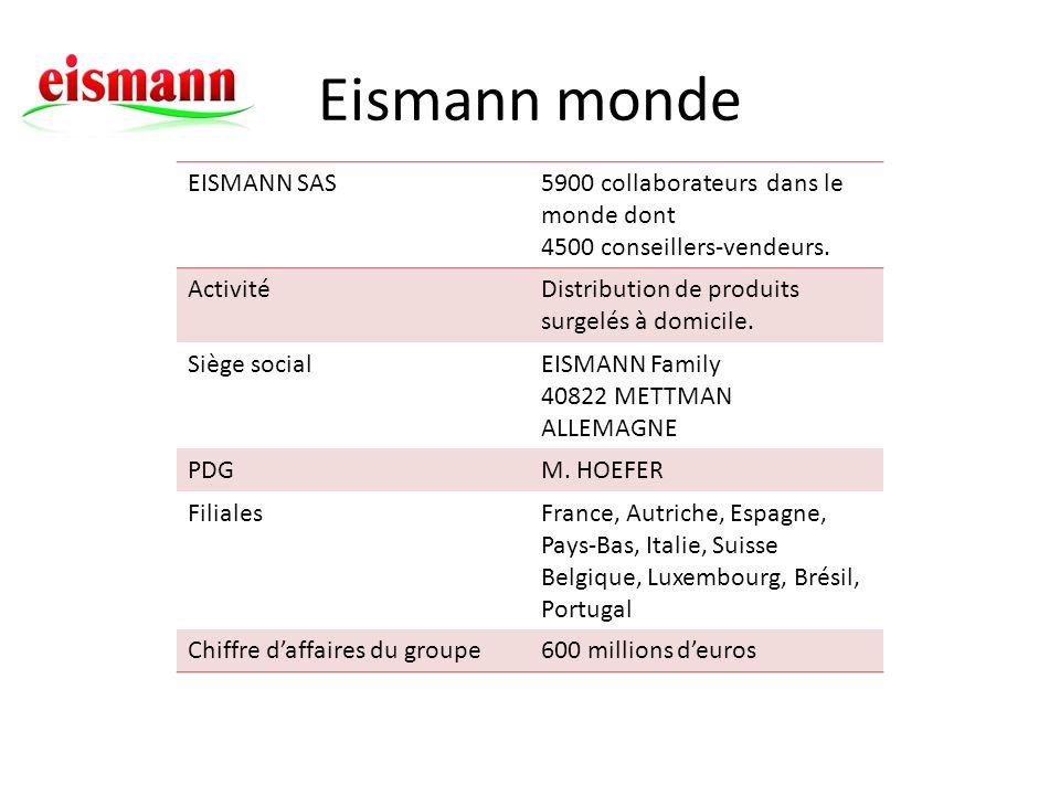 EISMANN SAS5900 collaborateurs dans le monde dont 4500 conseillers-vendeurs. ActivitéDistribution de produits surgelés à domicile. Siège socialEISMANN