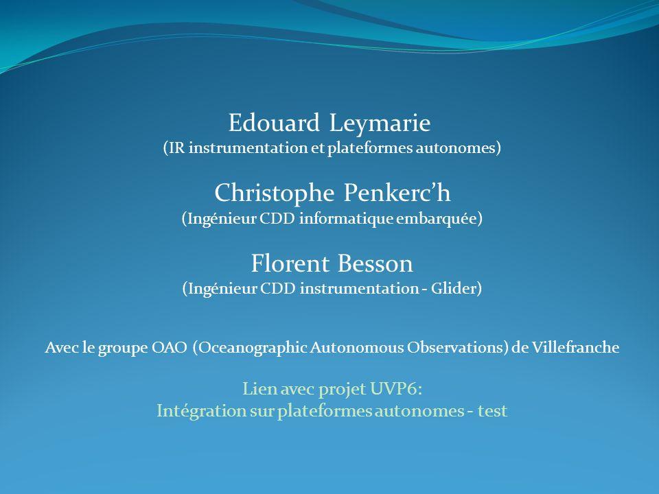 Edouard Leymarie (IR instrumentation et plateformes autonomes) Christophe Penkerch (Ingénieur CDD informatique embarquée) Florent Besson (Ingénieur CD