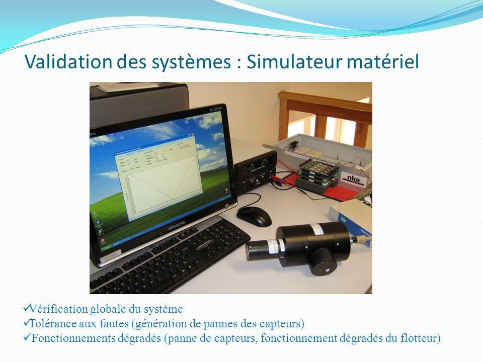 Validation des systèmes : Simulateur matériel Vérification globale du système Tolérance aux fautes (génération de pannes des capteurs) Fonctionnements