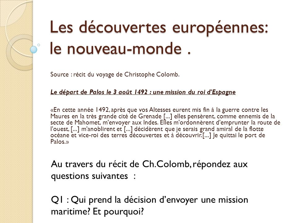 Christophe Colomb, un des explorateurs du nouveau-monde.
