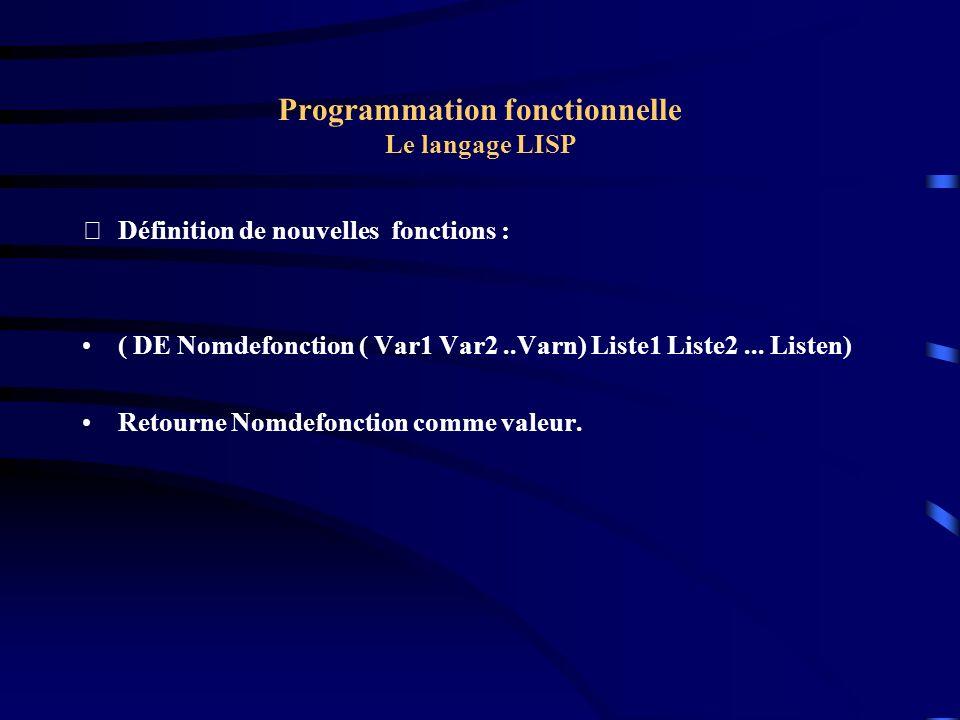 Programmation fonctionnelle Le langage LISP Définition de nouvelles fonctions : ( DE Nomdefonction ( Var1 Var2..Varn) Liste1 Liste2... Listen) Retour