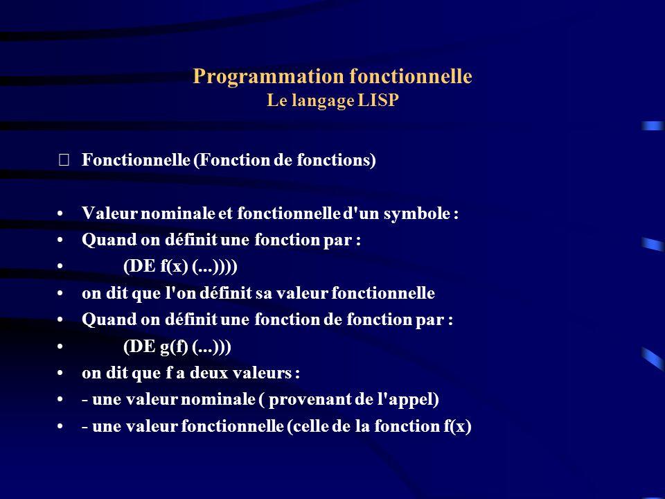 Programmation fonctionnelle Le langage LISP Fonctionnelle (Fonction de fonctions) Valeur nominale et fonctionnelle d'un symbole : Quand on définit un