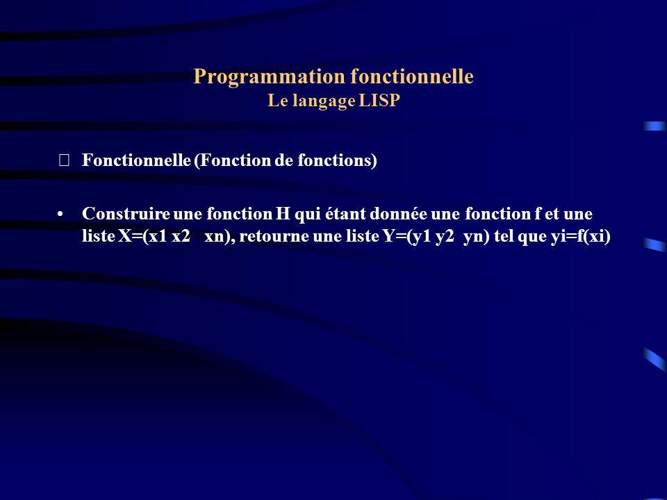 Programmation fonctionnelle Le langage LISP Fonctionnelle (Fonction de fonctions) Construire une fonction H qui étant donnée une fonction f et une li