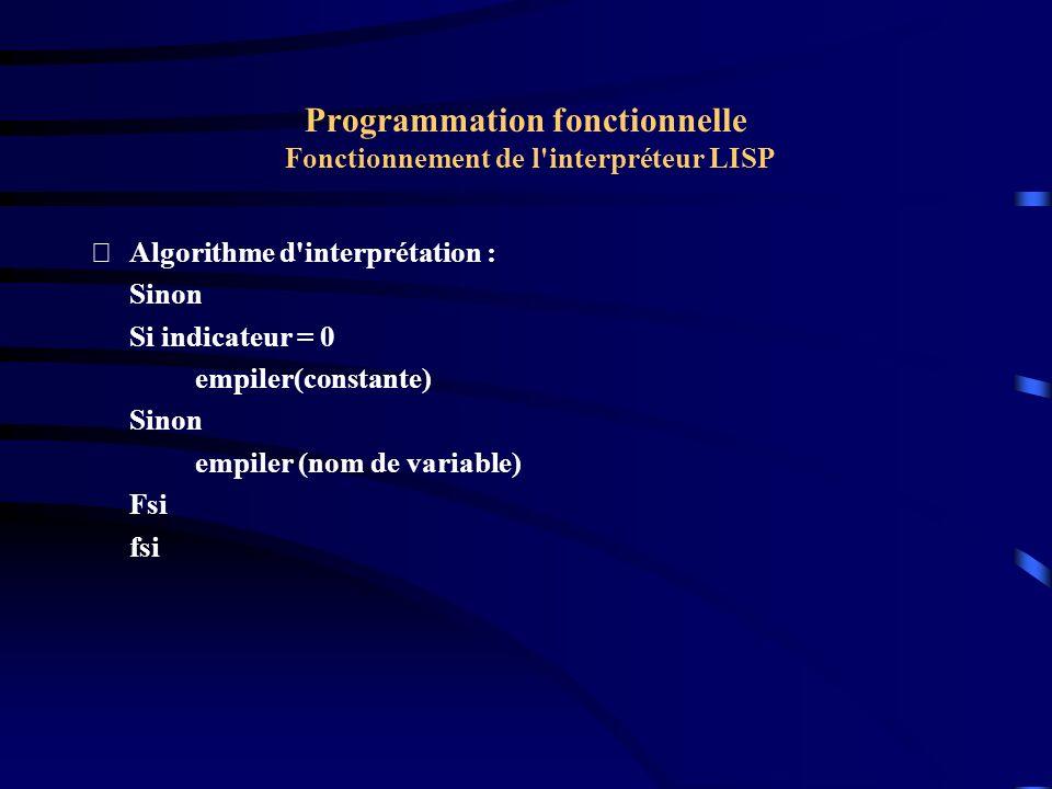 Programmation fonctionnelle Fonctionnement de l'interpréteur LISP Algorithme d'interprétation : Sinon Si indicateur = 0 empiler(constante) Sinon empi