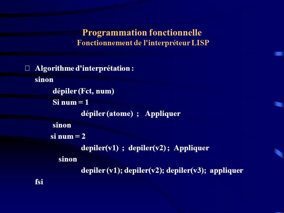 Programmation fonctionnelle Fonctionnement de l'interpréteur LISP Algorithme d'interprétation : sinon dépiler (Fct, num) Si num = 1 dépiler (atome) ;