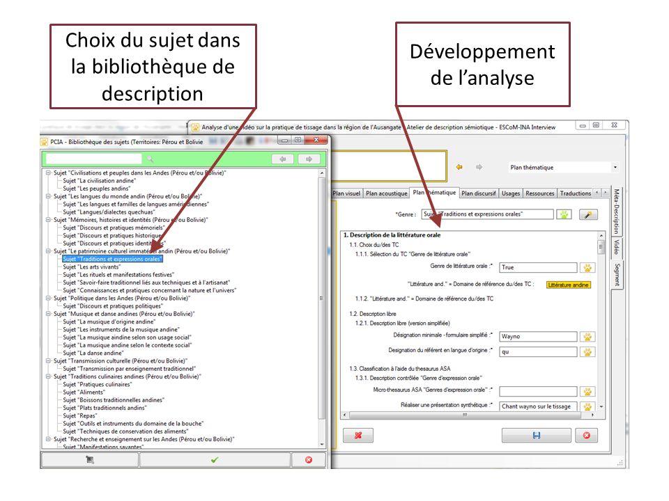 Choix du sujet dans la bibliothèque de description Développement de lanalyse