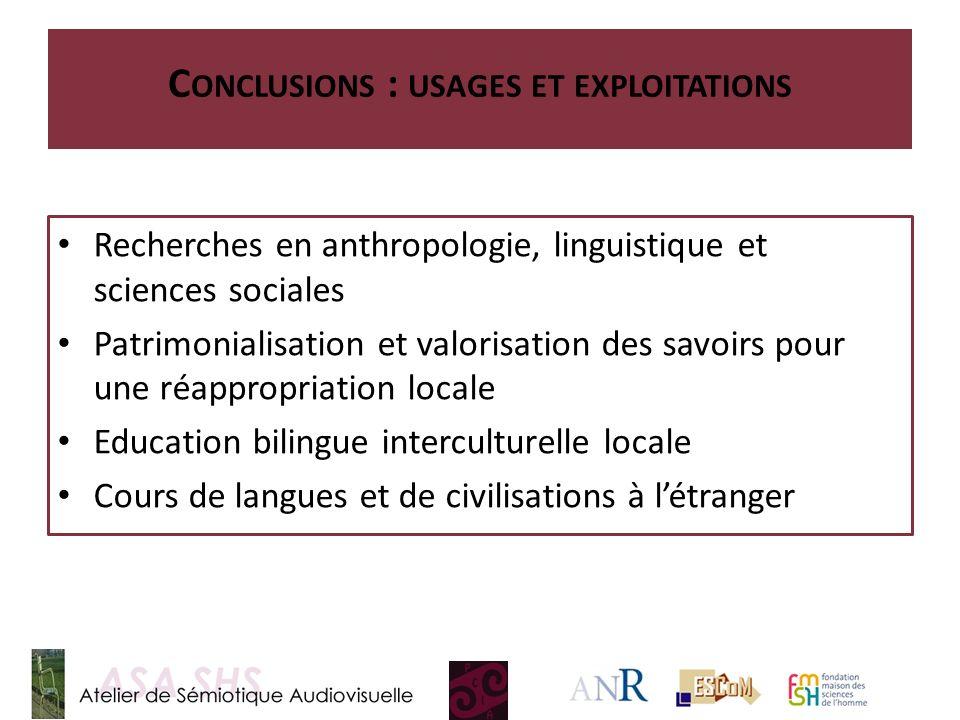 C ONCLUSIONS : USAGES ET EXPLOITATIONS Recherches en anthropologie, linguistique et sciences sociales Patrimonialisation et valorisation des savoirs p