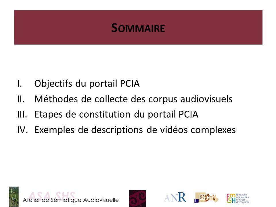 I.Objectifs du portail PCIA II.Méthodes de collecte des corpus audiovisuels III.Etapes de constitution du portail PCIA IV.Exemples de descriptions de