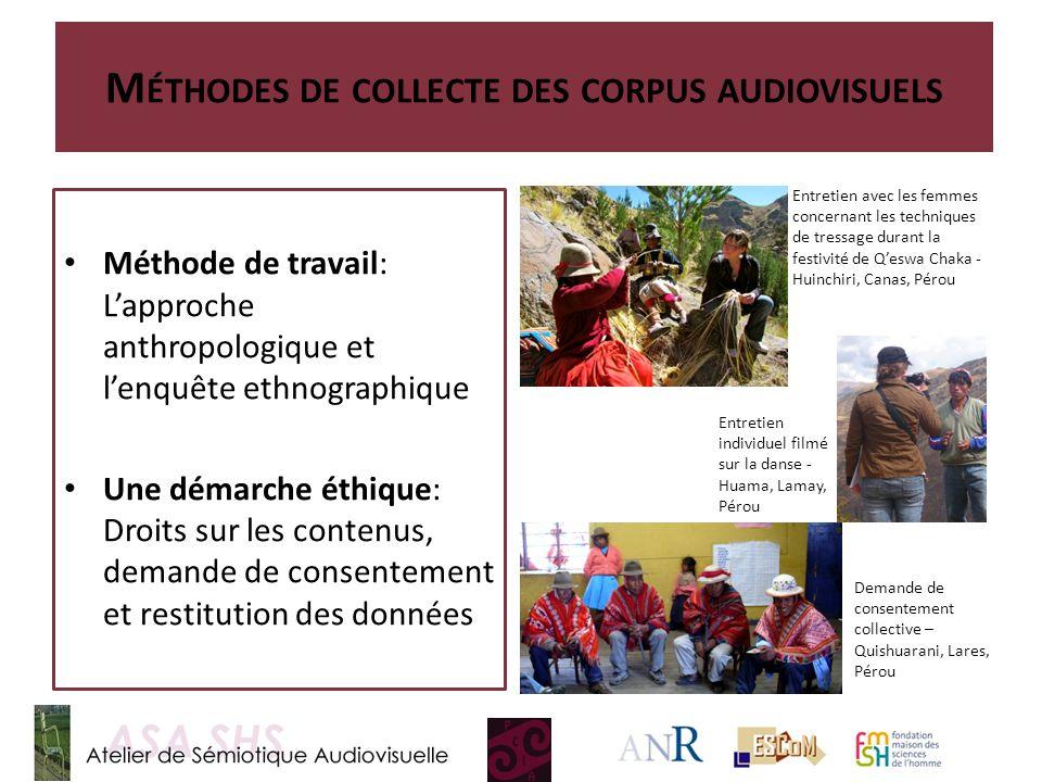 M ÉTHODES DE COLLECTE DES CORPUS AUDIOVISUELS Méthode de travail: Lapproche anthropologique et lenquête ethnographique Une démarche éthique: Droits su
