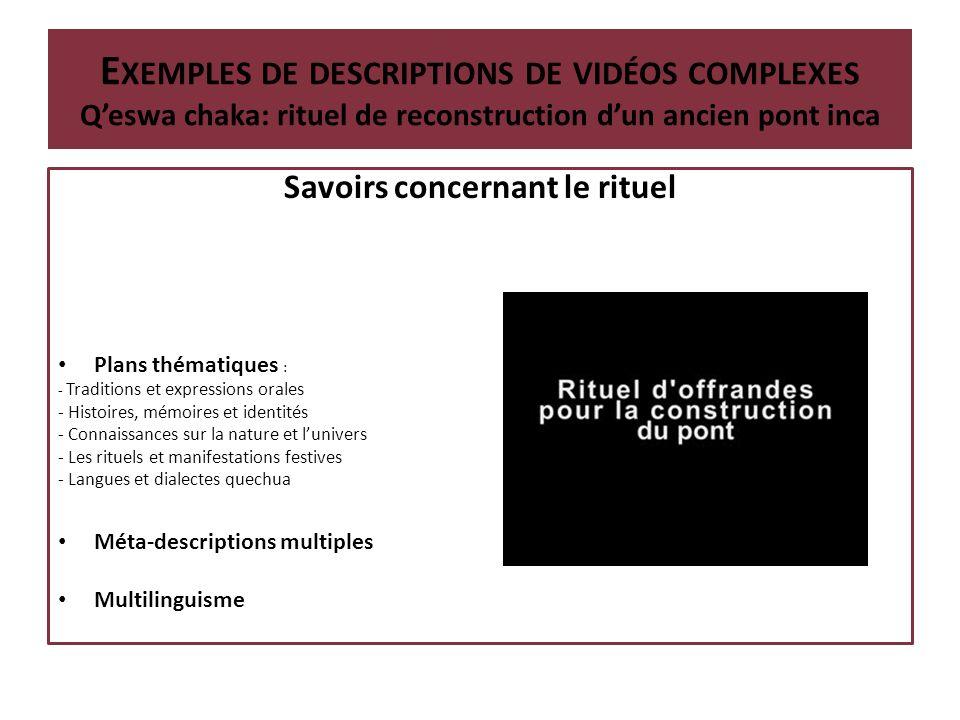 Définition du segment analysé: Chant sur le tissage E XEMPLES DE DESCRIPTIONS DE VIDÉOS COMPLEXES Le tissage et la tradition orale chantée