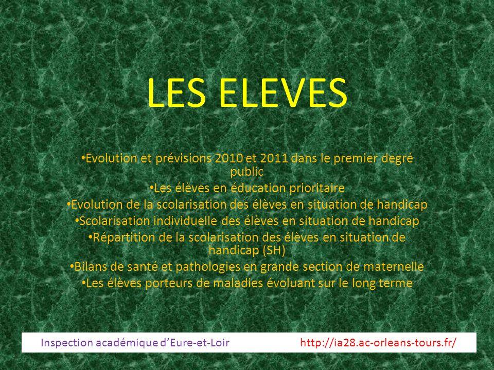 LES ELEVES Evolution et prévisions 2010 et 2011 dans le premier degré public Les élèves en éducation prioritaire Evolution de la scolarisation des élè