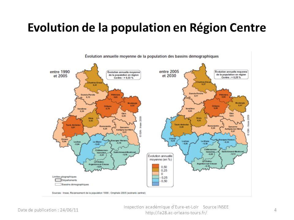 Evolution de la population en Région Centre Date de publication : 24/06/11 Inspection académique d'Eure-et-Loir Source INSEE http://ia28.ac-orleans-to