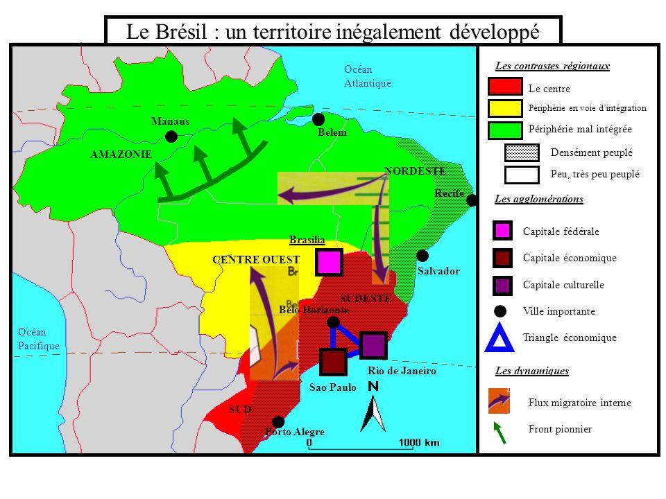 Le Brésil : un territoire inégalement développé Les contrastes régionaux Les agglomérations Les dynamiques Capitale fédérale Capitale économique Capit