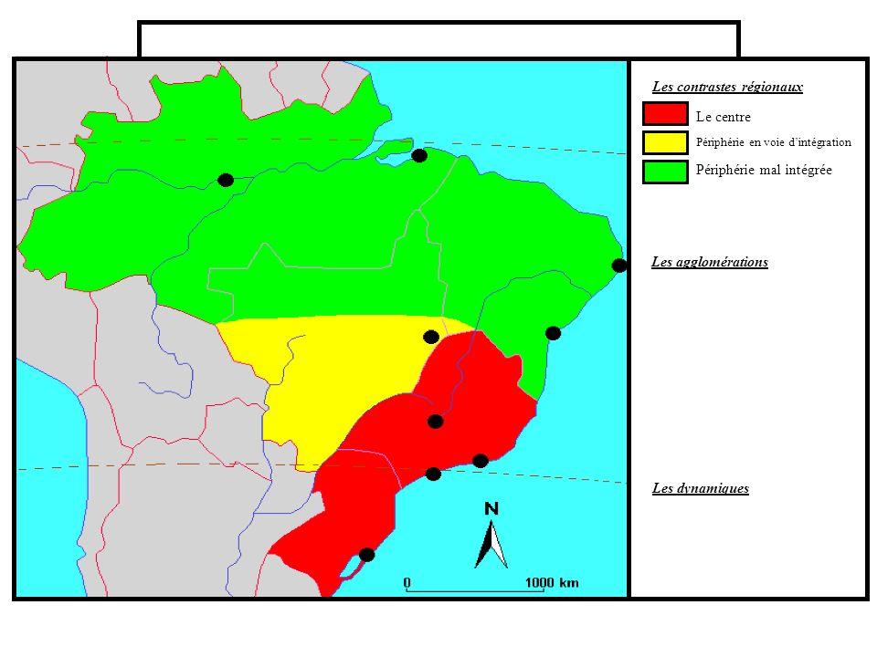 Les contrastes régionaux Les agglomérations Les dynamiques Le centre Périphérie en voie dintégration Périphérie mal intégrée