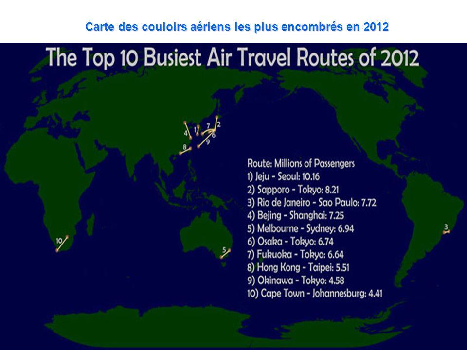 Carte des couloirs aériens les plus encombrés en 2012