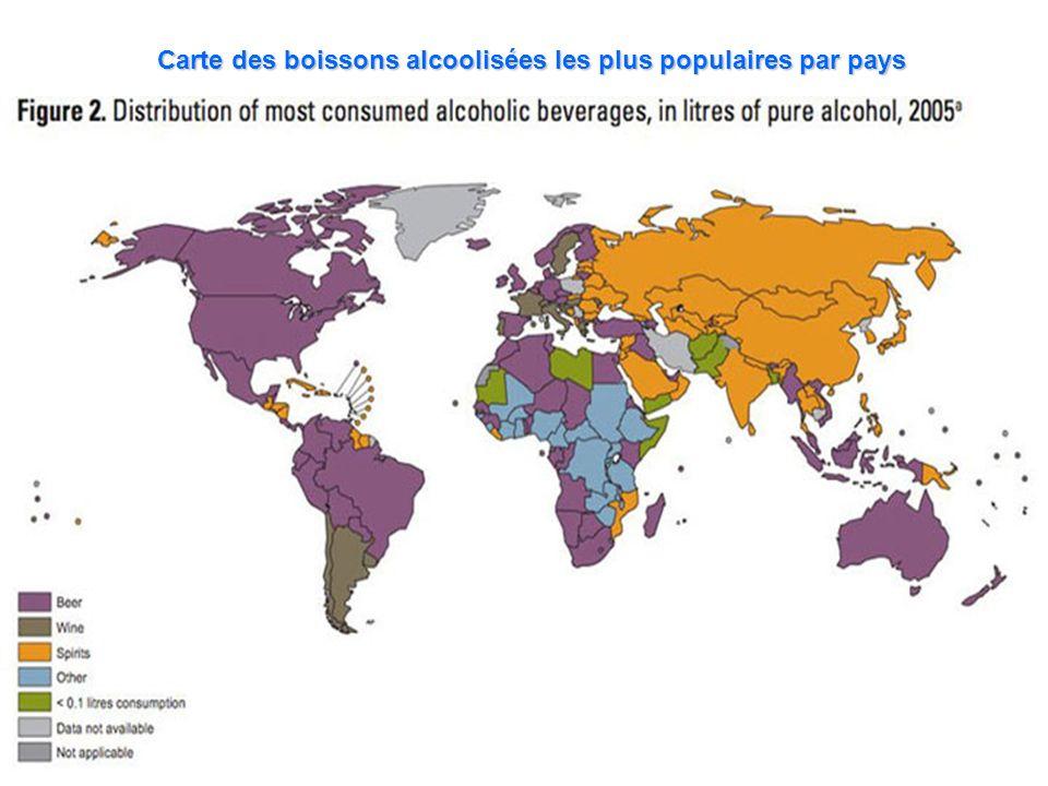 Carte des boissons alcoolisées les plus populaires par pays